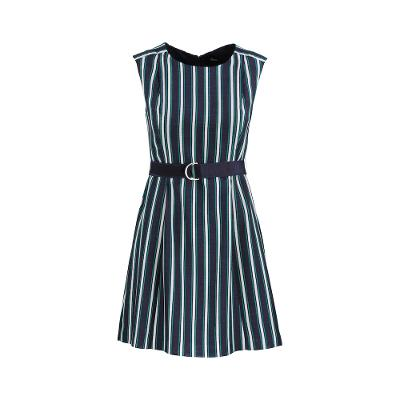 belted stripe sleeveless one-piece